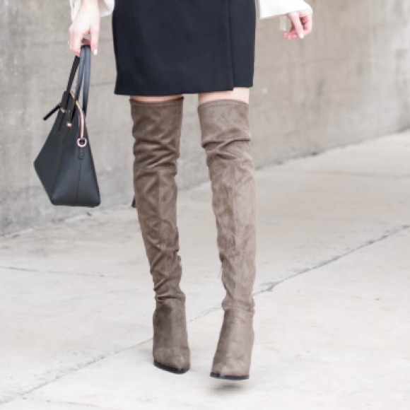 5e4e370a0f7 Marc Fisher Gray Suede Alinda Over the Knee Boots